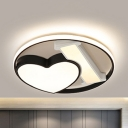 Loving Heart LED Ceiling Mount Light Nordic Acrylic Stepless Dimming/Warm/White Ceiling Fixture in Black for Kitchen