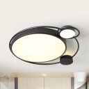 Study Room Mouse Ceiling Mount Light Acrylic Simple Style Warm/White LED Flush Light in Black/White