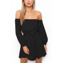 Womens Simple Plain Sexy Off the Shoulder Long Sleeve Bow-Tied Waist Mini A-Line Chiffon Dress