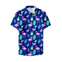 Summer Trendy Tropical Leaf Flamingo Printed Short Sleeve Beach Hawaiian Shirt