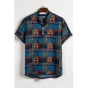 Retro Chinese Style Blue Tropical Geometric Print Button Front Short Sleeve Linen Shirt