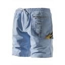 Summer New Fashion Letter Tape Patched Zipper Pocket Front Drawstring Waist Casual Shorts