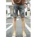 Men's Fashion Popular Destroyed Ripped Embroidery Patched Black Solid Color Denim Shorts