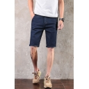 Summer Simple Fashion Solid Color Regular Fit Casual Denim Shorts
