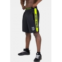 Summer Fashion Graphic Logo Printed Contrast Letter Stripe Patched Elastic Waist Men's Outdoor Athletic Shorts