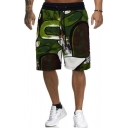 Popular Fashion Printed Drawstring Waist Loose Fit Green Casual Beach Shorts