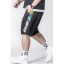 Fashion Letter Cartoon Printed Drawstring Waist Zip Pocket Black Casual Loose Sport Sweat Shorts
