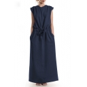 Womens Basic Simple Plain Round Neck Sleeveless Drawstring Waist Maxi Casual Linen Dress