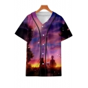 Fashion Purple Cloud Comic Character 3D Printed Short Sleeve Button Down Baseball Shirt