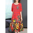 Womens Summer Chic Red Floral Printed Round Neck Maxi Swing Dress