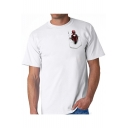 Funny Deadpool Pocket Basic Round Neck Short Sleeve White T-Shirt