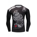 Mens Cool Skull Letter I WANT TO LIVE Eagle Print Round Neck Long Sleeve Black Slim Training Fitness T-Shirt