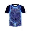 Cool Fashion Tribal Wolf 3D Printed Basic Round Neck Short Sleeve Tee