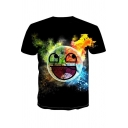 Creative Funny Cartoon Smile Face Emoji Earth Printed Round Neck Short Sleeve Black Tee