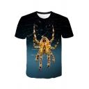 Stylish 3D Spider Web Printed Round Neck Short Sleeve Unisex T-Shirt