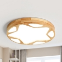 Star Round LED Flush Ceiling Light Contemporary Wood Beige Ceiling Lamp in Neutral/Warm for Corridor