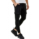 New Fashion Solid Color Drawstring Waist Casual Sports Joggers Sweatpants with Side Flap Pocket