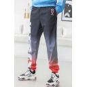 Street Style Trendy Letter JIYRCE Printed Ombre Color Casual Loose Track Pants