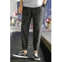 Men's Stylish Plaid Pattern Drawstring Waist Elastic Cuffs Casual Tapered Pants