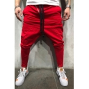 Men's Fashion Solid Color Zipper Embellishment Drop-Crotch Drawstring Waist Joggers Hip Hop Harem Pants