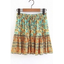Womens Summer Hot Popular Drawstring Waist Holiday Chic Floral Print Mini A-Line Pleated Skirt