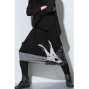 Fashion Cartoon Rabbit Patched Pinstripe Polka Dot Print Black Casual Harem Pants