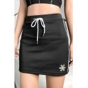 Summer Girls Simple Floral Embroidery Drawstring Waist Striped Side Mini Bodycon Black Skirt