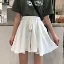 Girls Summer Fashion Plain Drawstring Waist High Rise Mini A-Line Skorts Skirt