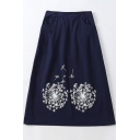 Simple Dandelion Printed Casual Comfort Cotton and Linen Midi A-Line Skirt