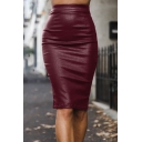 Womens Trendy Solid Color Zipper Fly Split Back Midi Bodycon PU Skirt