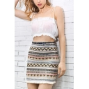 Womens Summer Chic Tribal Printed Fringed Hem Cotton and Linen Mini Bodycon Skirt