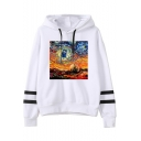 Hot Fashion Galaxy Oil Painting Striped Long Sleeve Loose Fitted Hoodie