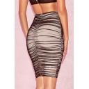 Womens Sexy Night Club Sheer Black Ruched Mesh Mini Bodycon Skirt
