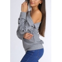 Womens Sexy Cold Shoulder One Shoulder Button Long Sleeve Plain Grey Sweatshirt