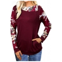 Womens Chic Floral Printed Turn-Down Collar Long Sleeve Casual Sweatshirt