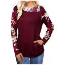 Womens Chic Floral Printed Turn-Down Collar Long Sleeve Casual Sweatshirt