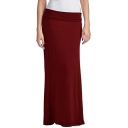Womens Hot Fashion Simple Solid Color Candy Color Maxi Floor Length Bodycon Skirt