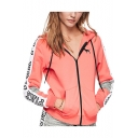Womens Fashion Letter PINK Printed Long Sleeve Zip Up Casual Hoodie