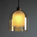 Amber Glass Dome Pendant Light for Dining Room Post Modern 1 Head Hanging Lamp in Wood Finish