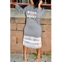 BLACK AND SMART Letter Printed Mesh Panel Hem Round Neck Long Sleeve Midi Grey Sweatshirt Dress