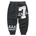 Summer Fashion Letter 7 Stars Stripe Printed Drawstring Waist Casual Cotton Sweat Shorts for Men