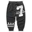 Summer Fashion Letter 7 Stars Stripe Printed Drawstring Waist Casual Cotton Sweat Shorts for Men