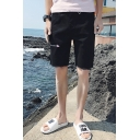 Summer Trendy Embroidery Pattern Cutoff Style Zip-fly Casual Denim Shorts for Men