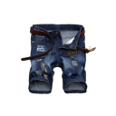 Summer Fashion Letter Patchwork Ripped Detail Dark Blue Zip-fly Denim Shorts
