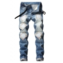 Men's Trendy Patched Light Blue Regular Fit Casual Ripped Jeans