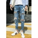 Men's Fashion Retro Washed-Denim Knee Cut Rolled Cuffs Blue Damage Ripped Jeans
