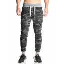 Men's Trendy Cool Camouflage Printed Drawstring Waist Grey Cotton Casual Sports Sweatpants