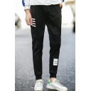 Men's Stylish Letter Stripes Printed Drawstring Waist Elastic Waist Casual Sweatpants
