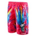 Summer New Cartoon Printed Pink Drawstring Waist Sport Beach Shorts Swim Trunks for Men with Pocket and Mesh Liner