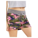 Hot Trendy Camouflage Printed Drawstring Waist Casual Loose Shorts